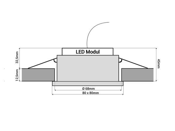 QW-1 flacher LED-Einbaustrahler chrom glänzend, IP65 inkl. LED-Modul 230V, 5W, warm weiß 2700K – Bild 5