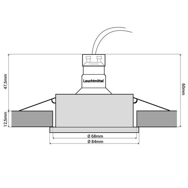 QW-1 LED Bad Einbaustrahler Edelstahl gebürstet IP65 inkl. 3,5W GU10 LED warmweiß 230V – Bild 6
