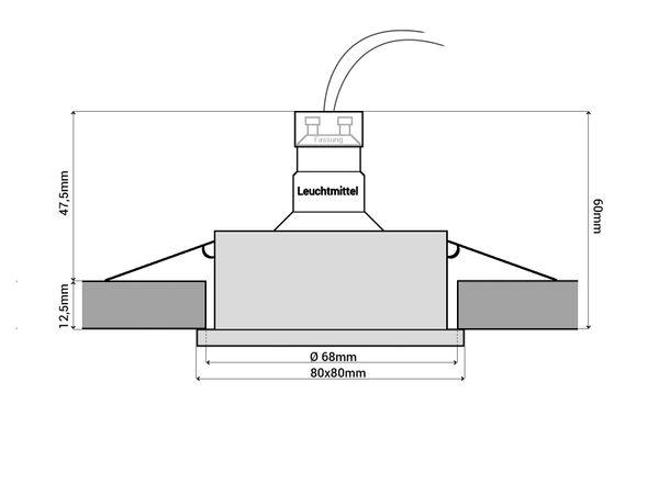 QW-1 Feuchtraum LED-Einbaustrahler Bad Einbauleuchte Edelstahl gebürstet, IP65, 6W LEDs warm weiß, GU10-Fassung – Bild 5