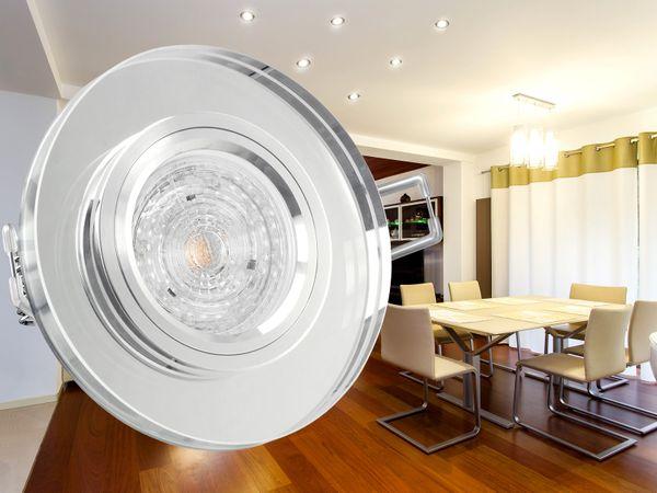 Dimmbarer LED-Einbaustrahler Echtglas rund, klar spiegelnd, 4,9W warmweiß, GU10 230V MASTER LEDspot MV von PHILIPS – Bild 2