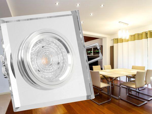 Design LED-Einbauspot aus Glas quadratisch klar spiegelnd, 4,9W neutralweiß, DIMMBAR, GU10 230V PHILIPS MASTER LEDspot MV – Bild 2