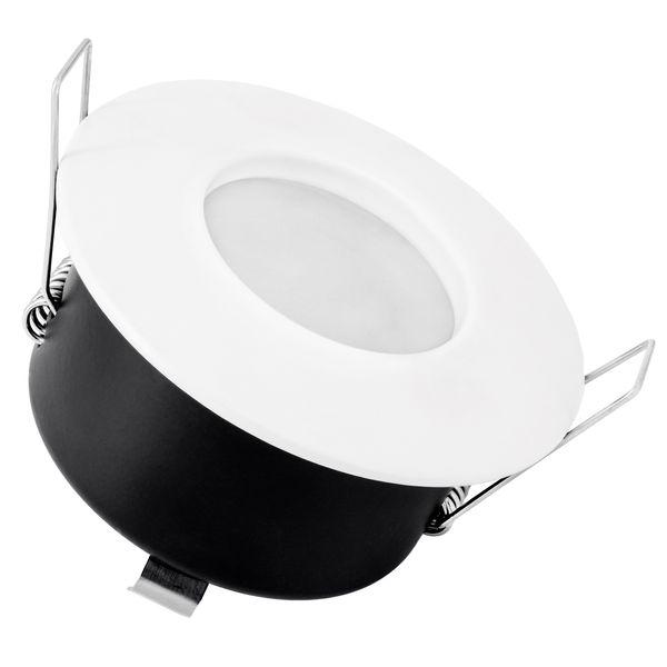RW-1 LED-Einbaustrahler weiß-matt, Bad Dusche Aussenbereich, IP65, 4,9W warmweiß DIMMBAR, GU10 MASTER LEDspot MV von PHILIPS