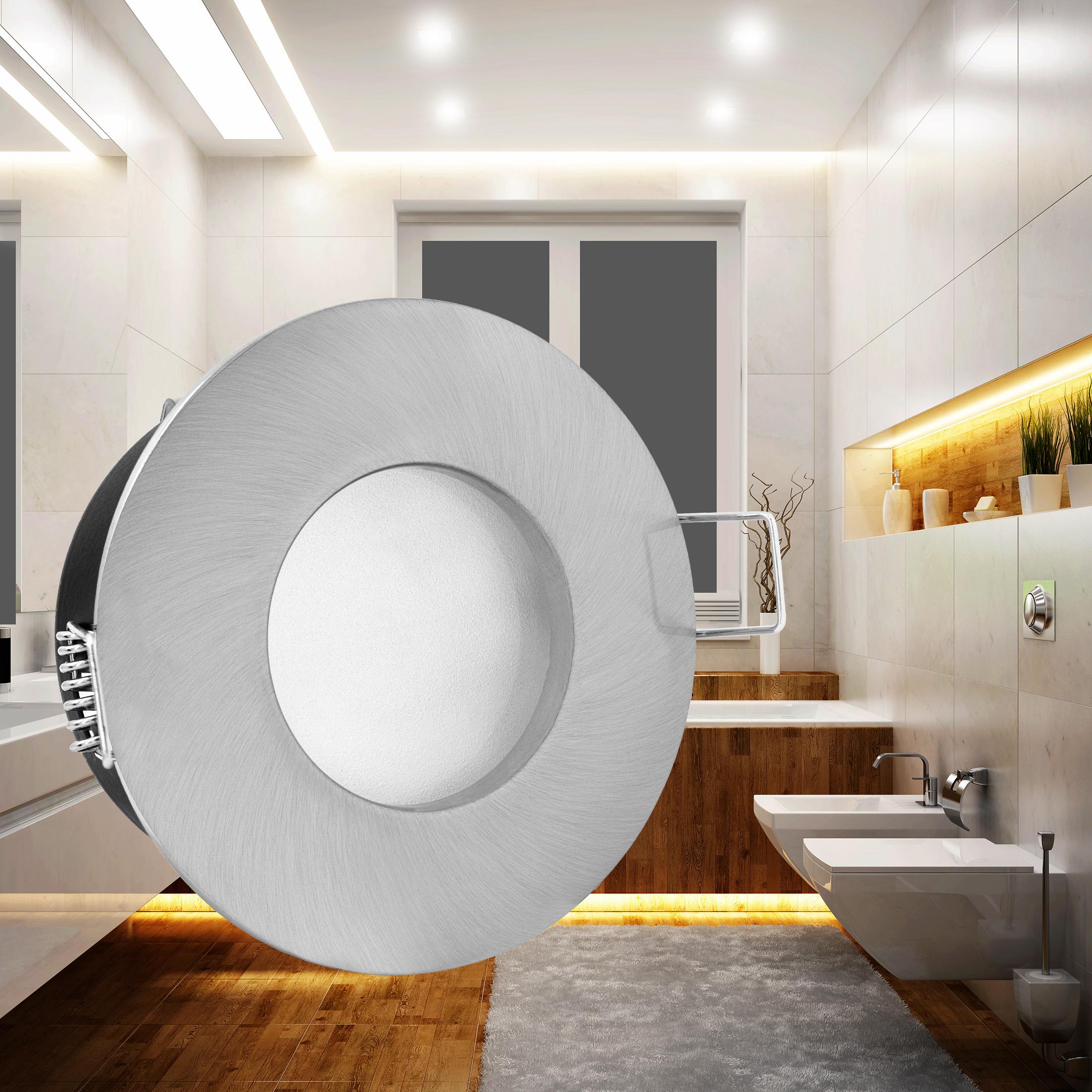 rw 1 led einbaustrahler spot bad dusche edelstahl geb rstet ip65 4 9w warmwei dimmbar gu10. Black Bedroom Furniture Sets. Home Design Ideas