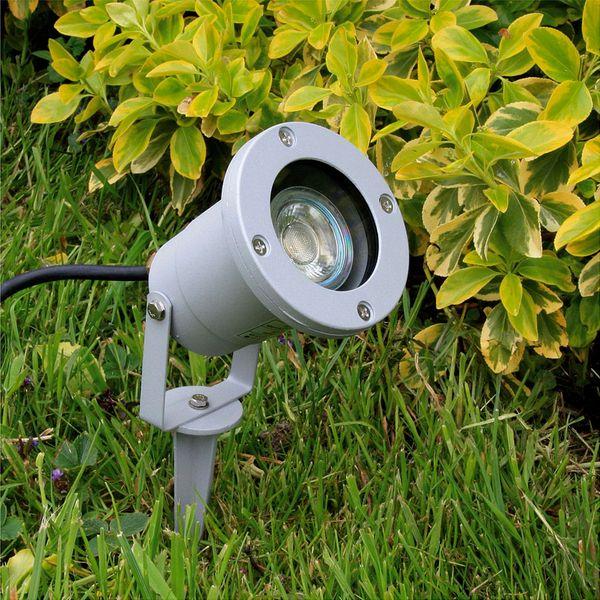 LED-Gartenstrahler mit Erdspieß und Kabel, rund silbergrau, 3W warmweiß, GU10 230V IP68/ IP44 – Bild 6
