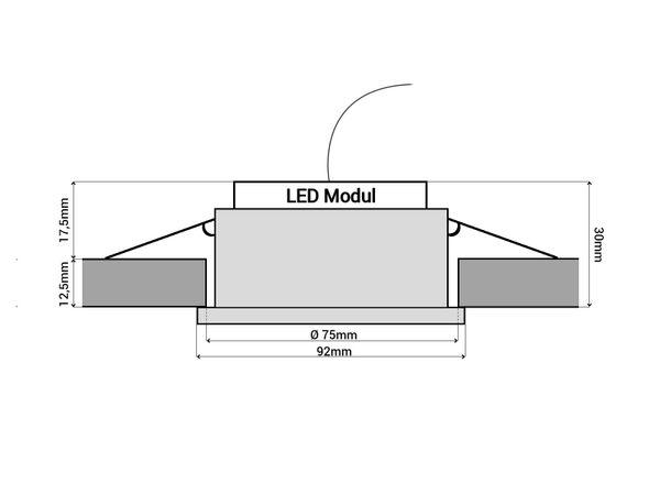 QF-2 Alu LED-Einbauspot flach schwenkbar inkl. LED-Modul 230V, 5W SMD, warm weiß 2700K dimmbar – Bild 6