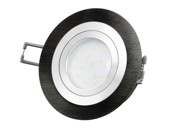 RF-2 LED-Einbauspot rund flach Alu schwarz gebürstet inkl. LED-Modul 230V, 5W, warm weiß 2700K dimmbar – Bild 2