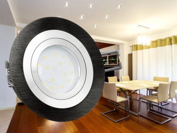 RF-2 LED-Einbauspot rund flach Alu schwarz gebürstet inkl. LED-Modul 230V, 5W, warm weiß 2700K dimmbar – Bild 4