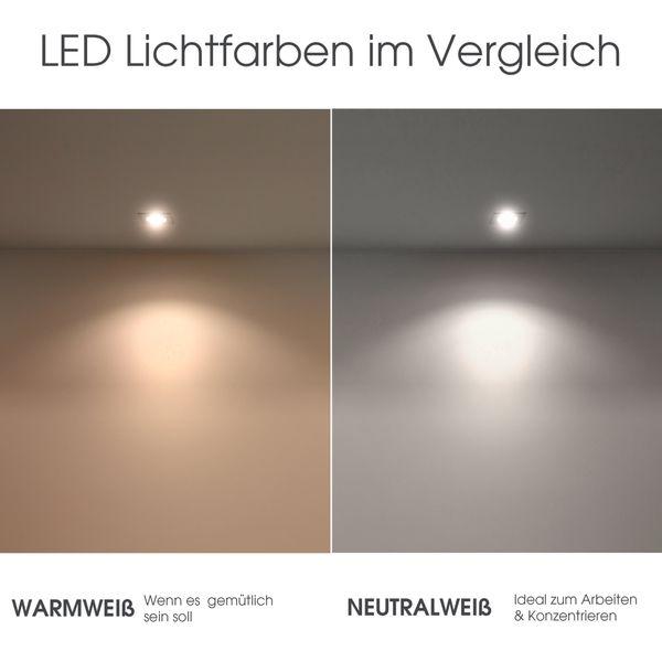 RF-2 runder LED-Einbauspot weiß, schwenkbar flach inkl. LED-Modul 230V, 5W, warm weiß 2700K dimmbar – Bild 7