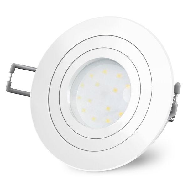 RF-2 runder LED-Einbauspot weiß, schwenkbar flach inkl. LED-Modul 230V, 5W, warm weiß 2700K dimmbar – Bild 3
