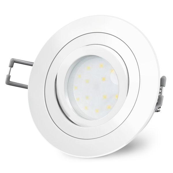 RF-2 runder LED-Einbauspot weiß, schwenkbar flach inkl. LED-Modul 230V, 5W, warm weiß 2700K dimmbar