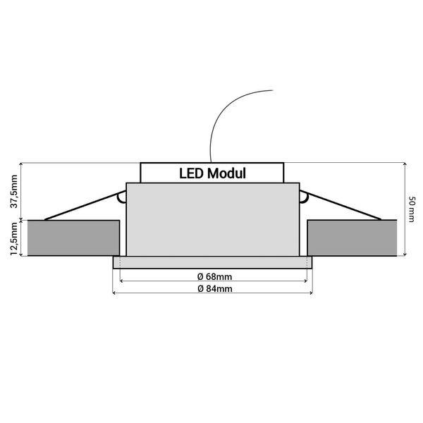 RW-1 flacher LED Bad Einbaustrahler weiß rund & dimmbar IP65 mit LED Modul 5W warmweiß 230V – Bild 5
