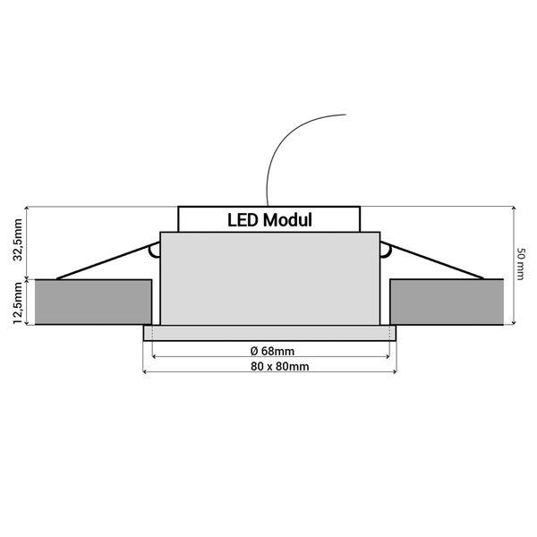 QW-1 LED Einbauleuchte dimmbar Bad IP65 in weiß quadratisch inkl. dim LED Modul 5W warmweiß – Bild 6