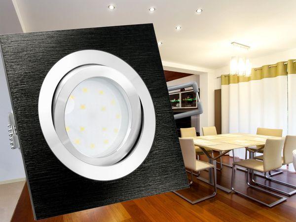 QF-2 LED-Einbauleuchte Alu schwarz schwenkbar flach, LED-Modul 230V, 5W, neutral weiß 4000K dimmbar – Bild 3