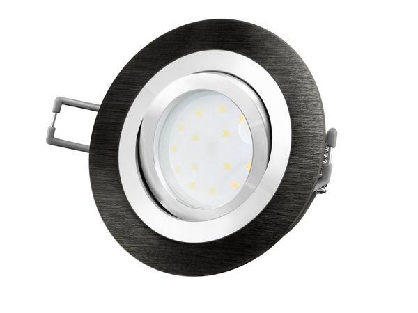 RF-2 LED-Einbauspot rund flach Alu schwarz gebürstet, LED-Modul 230V, 5W, neutral weiß 4000K dimmbar