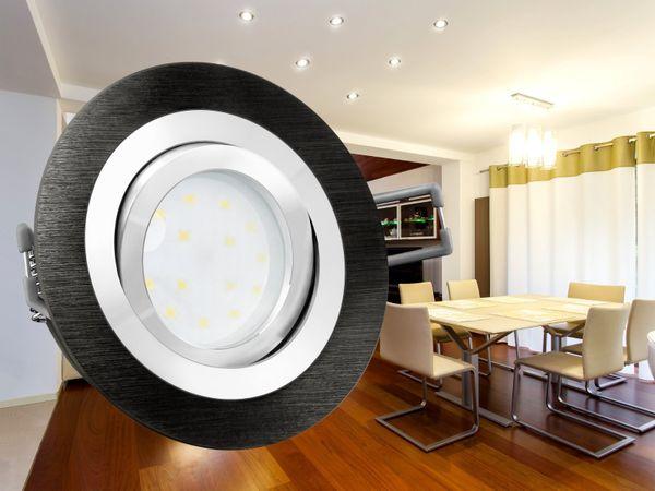 RF-2 LED-Einbauspot rund flach Alu schwarz gebürstet, LED-Modul 230V, 5W, neutral weiß 4000K dimmbar – Bild 3