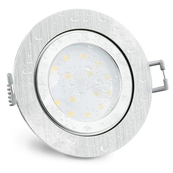 RW-2 extra flache LED Bad Einbauleuchte IP44 Alu rund inkl. LED Modul 230V 5W warmweiß Stückzahl: 1er Set