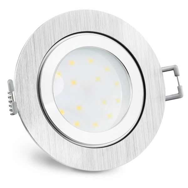 RW-2 extra flache LED Bad Einbauleuchte IP44 Alu rund inkl. LED Modul 230V 5W warmweiß – Bild 3