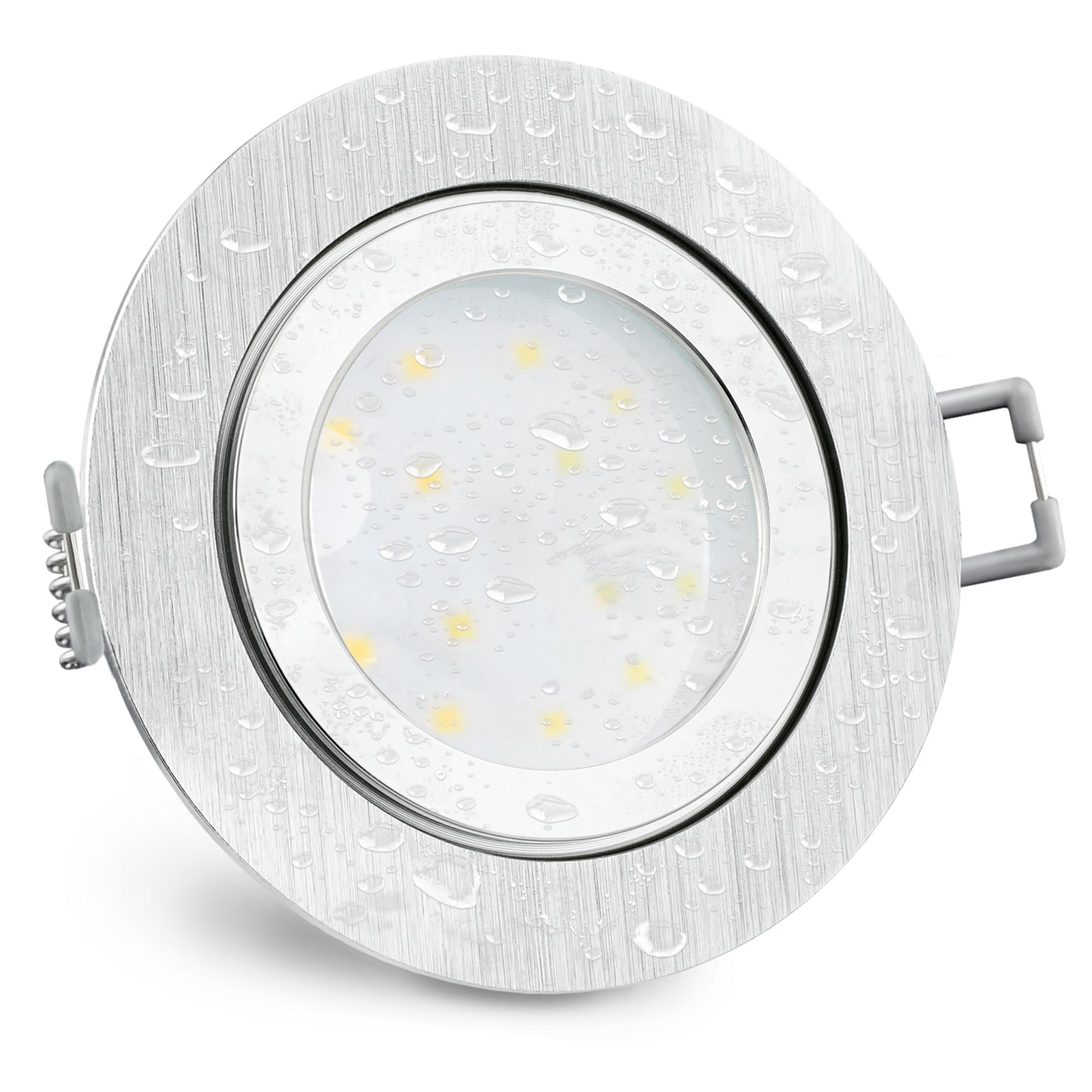 RW 20 flacher LED Bad Einbaustrahler IP20 Alu gebürstet rund inkl. LED Modul  2030V 20W neutralweiß
