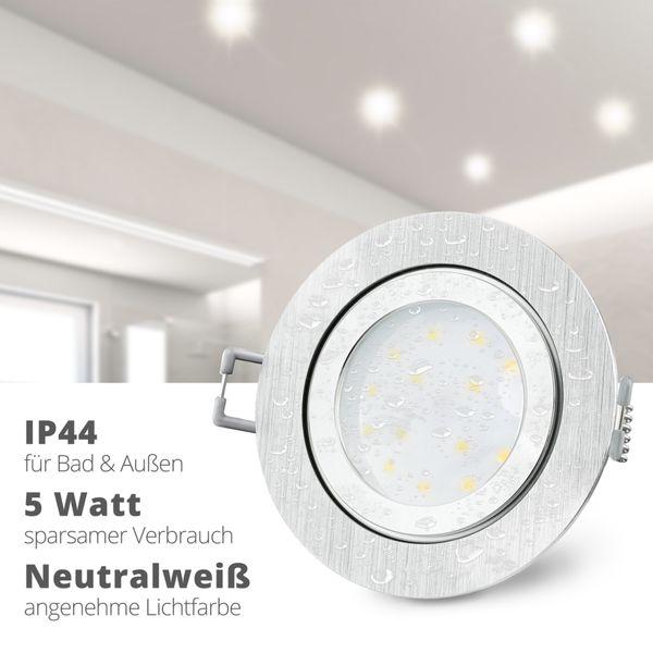 RW-2 flacher LED Bad Einbaustrahler IP44 Alu gebürstet rund inkl. LED Modul 230V 5W neutralweiß – Bild 2
