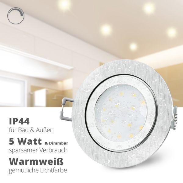 RW-2 flacher LED Einbauspot IP44 Alu gebürstet & rund inkl. dimmbarem LED Modul 5W warmweiß 230V – Bild 2