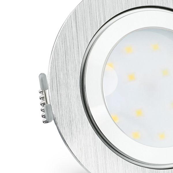RW-2 flacher LED Einbauspot IP44 Alu gebürstet & rund inkl. dimmbarem LED Modul 5W warmweiß 230V – Bild 5