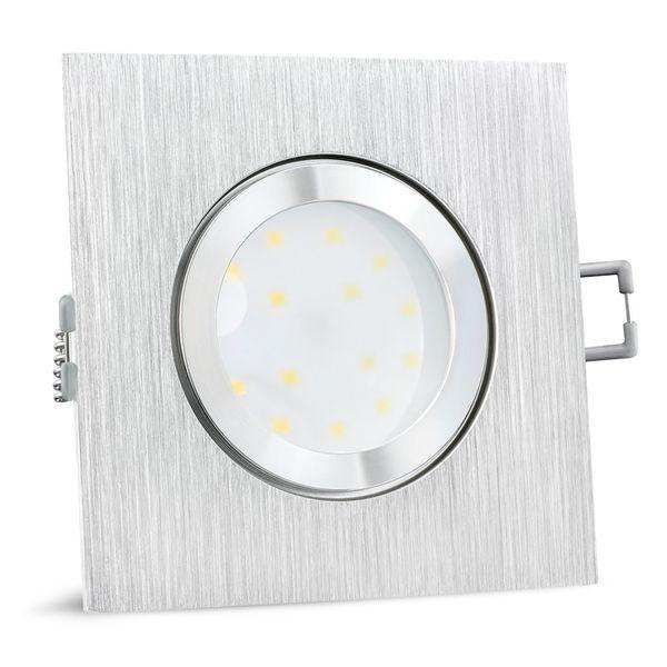 QW-2 flache LED Einbauleuchte IP44 in Alu gebürstet & quadratisch inkl. LED Modul 230V 5W warmweiß – Bild 3