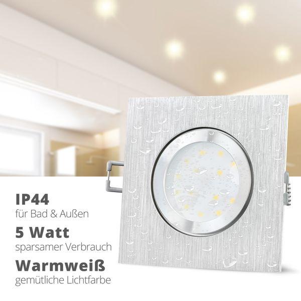QW-2 flache LED Einbauleuchte IP44 in Alu gebürstet & quadratisch inkl. LED Modul 230V 5W warmweiß – Bild 2