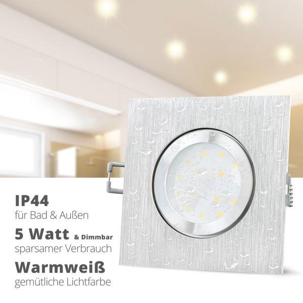 QW-2 LED Einbauleuchte IP44 Alu flach quadratisch mit LED Modul dimmbar 5W warmweiß 230V – Bild 2