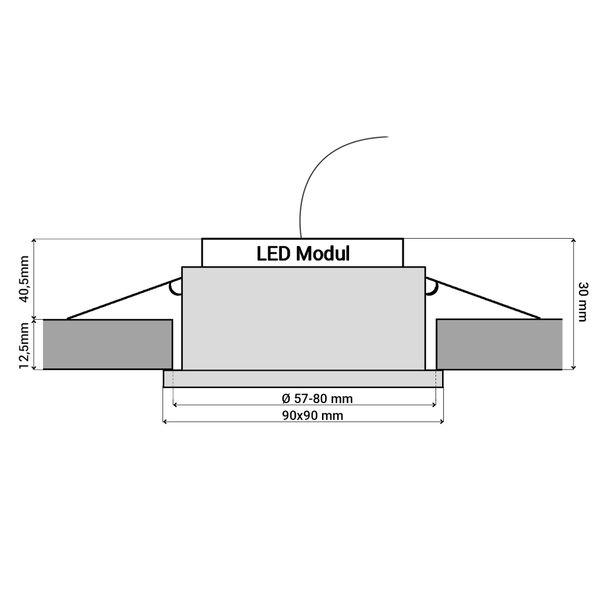 QW-2 LED-Einbauleuchte IP44 Alu flach quadratisch inkl. LED-Modul 230V 5W, neutral weiß 4000K dimmbar – Bild 6