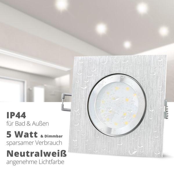 QW-2 LED-Einbauleuchte IP44 Alu flach quadratisch inkl. LED-Modul 230V 5W, neutral weiß 4000K dimmbar – Bild 2