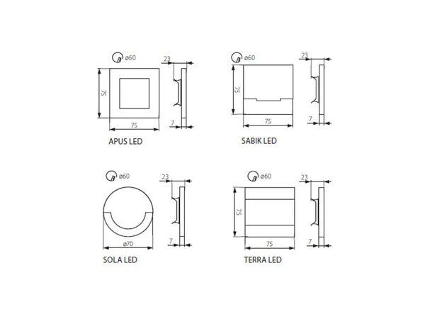 LED-Wandeinbauleuchte APUS AC,Edelstahl poliert,1,3W 230V, IP20, Lichtfarbe warm weiß – Bild 6