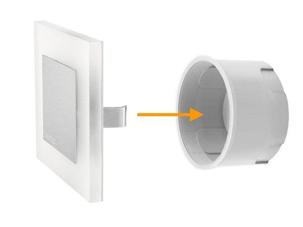 LED-Wandeinbauleuchte APUS AC,Edelstahl poliert,1,3W 230V, IP20, Lichtfarbe warm weiß – Bild 3