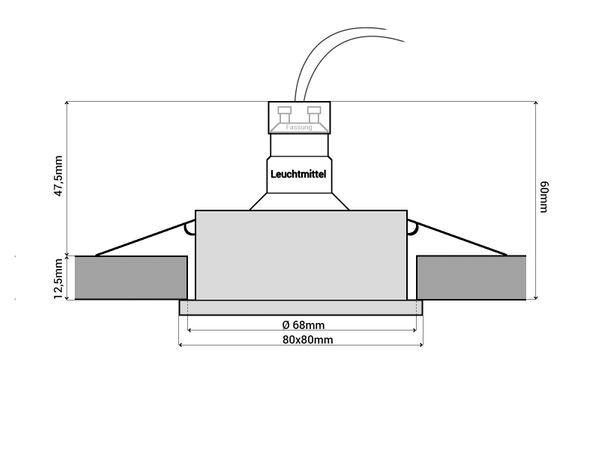 QW-1 Feuchtraum LED-Einbauspot Bad Dusche chrom, IP65 5W LED warm weiß, GU10 230V OSRAM SUPERSTAR Duo Click Dim – Bild 6