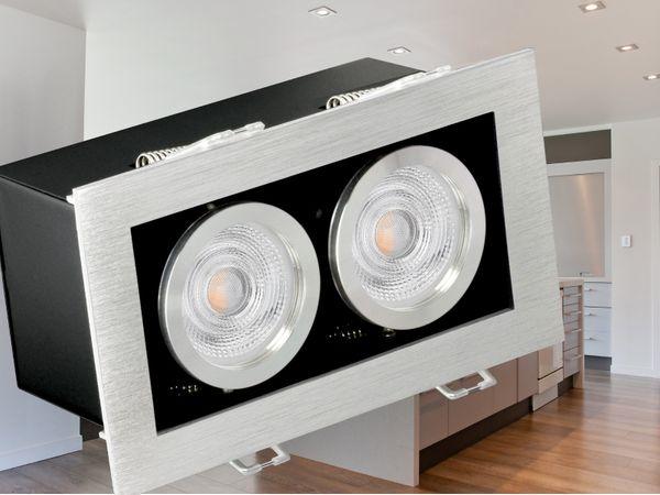 K2 Design LED-Einbaustrahler kardanisch schwenkbar, 2 Leuchtenköpfe á 5W  warmweiß OSRAM SUPERSTAR Duo Click Dim
