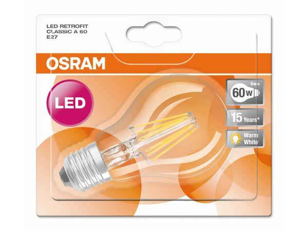 OSRAM LED Retrofit Filament A 60 E27 6W 806 Lumen warm weiß 2700K, klassische Glühbirnenform – Bild 3
