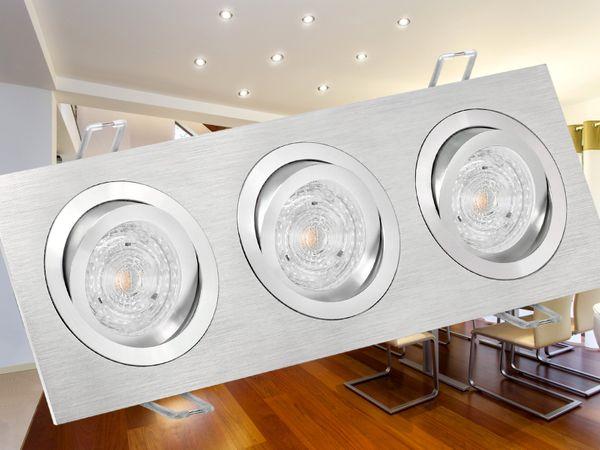QF-2.3 Alu LED-Einbaustrahler schwenkbar, 3 * 4,6W SMD warmweiß DIMMBAR, GU10 230V OSRAM SUPERSTAR DIM – Bild 3