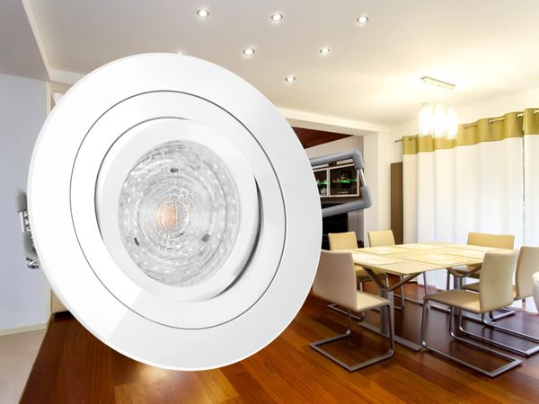 RF-2 LED-Einbaustrahler Einbauspot schwenkbar weiß rund, 4,3W warmweiß, GU10 230V OSRAM LED STAR  – Bild 3