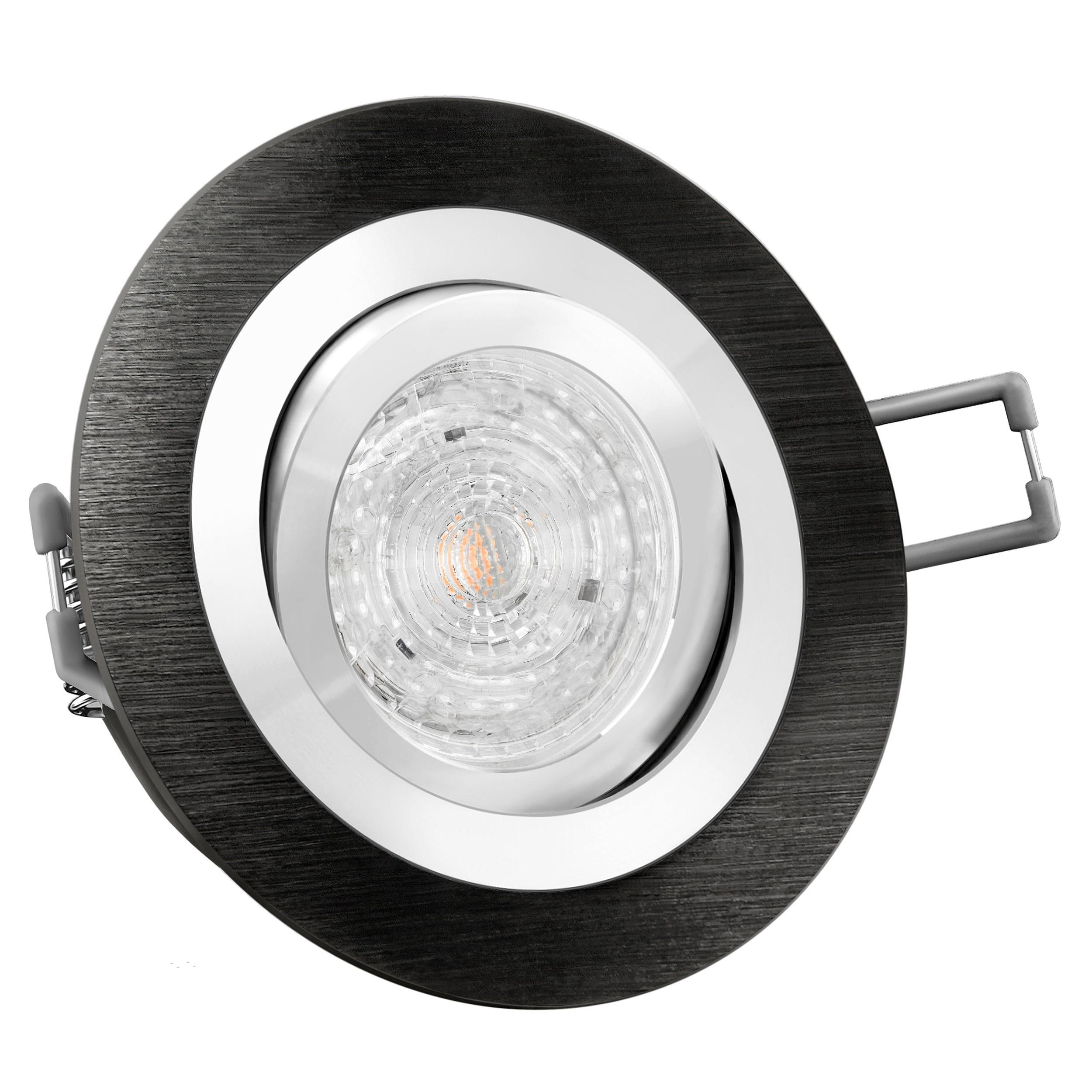 RF-2 LED-Einbaustrahler Alu rund schwarz OSRAM 4,6W DIMMBAR warm weiß 230V