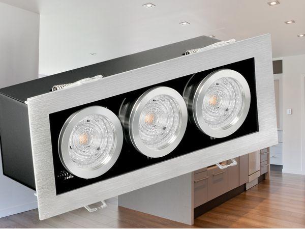 K3 Design LED-Einbaustrahler kardanisch schwenkbar, 3 LED á 4,3W  warmweiß OSRAM LED STAR GU10 230V