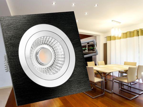 QF-2 LED-Einbauspot flach Alu schwarz schwenkbar inkl. LED-Modul 230V, 6W, warm weiß 2700K dimmbar – Bild 4