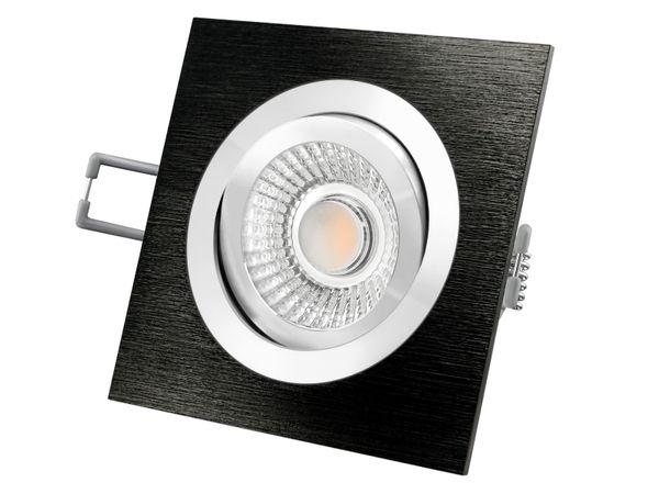 QF-2 LED-Einbauspot flach Alu schwarz schwenkbar inkl. LED-Modul 230V, 6W, warm weiß 2700K dimmbar