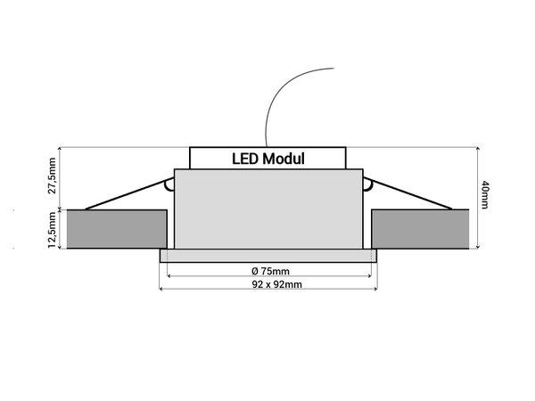 QF-2 LED-Einbauspot flach Alu schwarz schwenkbar inkl. LED-Modul 230V, 6W, warm weiß 2700K dimmbar – Bild 6