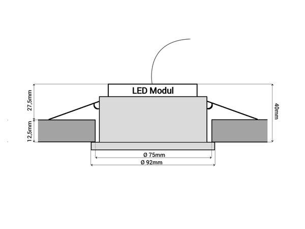 RF-2 LED-Einbauspot rund flach Alu schwarz schwenkbar inkl. LED-Modul 230V, 6W, warm weiß 2700K dimmbar – Bild 6