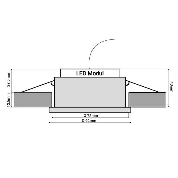 RF-2 LED-Einbauspot rund flach weiß schwenkbar inkl. LED-Modul 230V, 6W, warmweiß 2700K dimmbar – Bild 6