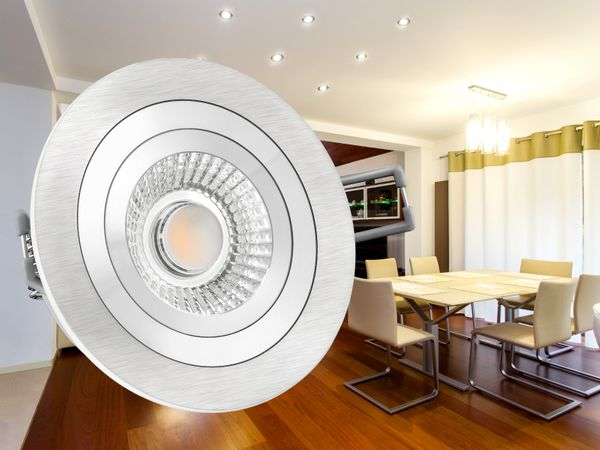 RF-2 LED-Einbauspot rund flach Alu schwenkbar inkl. LED-Modul 230V, 6W, warm weiß 2700K dimmbar – Bild 4