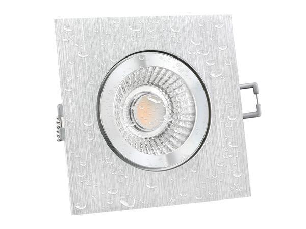 QW-2 LED-Einbauspot quadratisch flach IP44 Alu inkl. LED-Modul 230V, 6W, warm weiß 2700K dimmbar