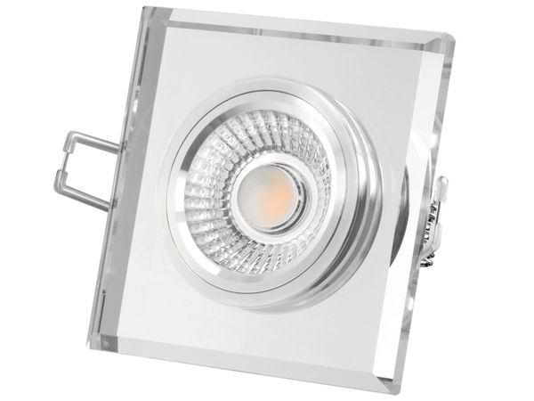 Flacher Design Einbaustrahler aus Glas quadratisch klar spiegelnd, LED-Modul 6W warmweiß 230V dimmbar