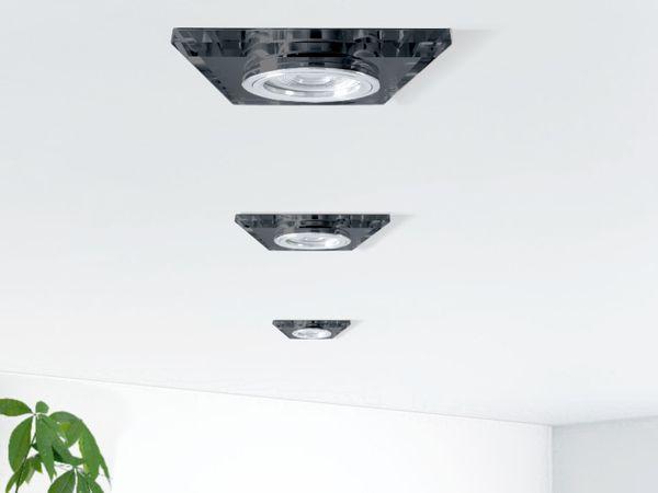 Flacher Design Einbaustrahler aus Glas quadratisch schwarz spiegelnd, LED-Modul 6W warmweiß 230V dimmbar – Bild 3