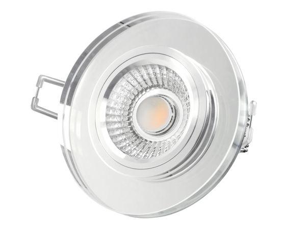 Flacher Design Einbaustrahler aus Glas rund klar spiegelnd, LED-Modul 6W warmweiß 230V dimmbar