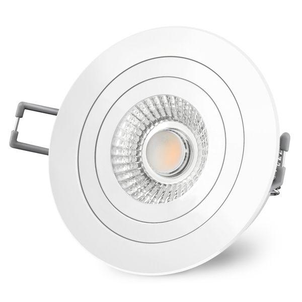 RF-2 LED-Einbauspot rund flach weiß schwenkbar inkl. LED-Modul 230V, 10W, warm weiß 2300-2700K dimmbar mit Dim-to-Warm – Bild 3